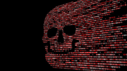 Concept of computer security. The skull of the hexadecimal code. Pirate online. Cyber criminals. Hackers cracked the code.