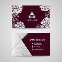 Business card - Silver floral frame and leaf logo on Crimson background