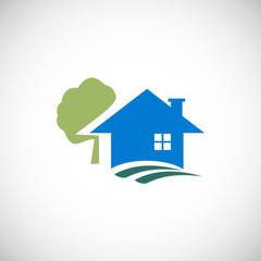 house ecology tree vector logo.