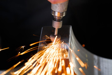 Drill with diamond-tipped polishing metal parts.