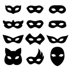 Blank carnival masks icons templates set illustration.