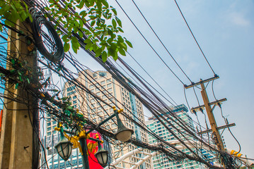 Bangkok cityscape, business district. Wire electric. Thailand. Bangkok
