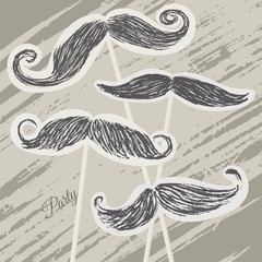 Mustache retro party background