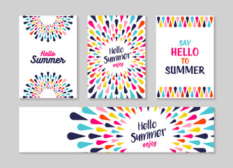 Hello summer colorful art greeting card and label