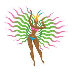 Samba dancer girl icon vector illustration.