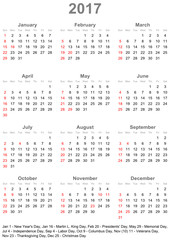 Einfacher Kalender 2017 mit gesetzlichen Feiertagen und Wochenstart Sonntag für die USA