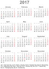 Einfacher Kalender 2017 mit gesetzlichen Feiertagen für die USA