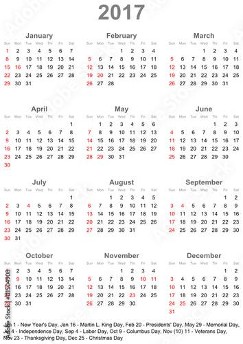 einfacher kalender 2017 mit gesetzlichen feiertagen und. Black Bedroom Furniture Sets. Home Design Ideas