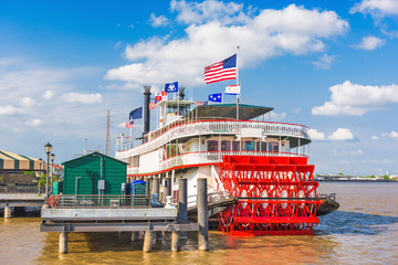 Paddle Steamer on the Mississippi in New Orleans, Louisiana, USA.