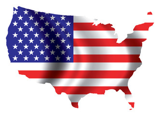 Vector image of american flag map
