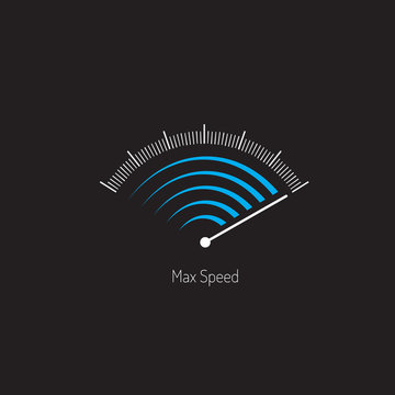 Symbol max speed meter. Blue and white gray colors