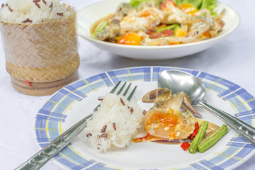 Horse crab papaya salad or what we called Som Tum Poo Ma in Thai the famous Thai style local the eastern delicious food of Thailand.