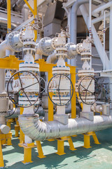 Valve manual operate in oil and gas platform.Production process used manual valve to control the system.