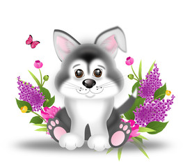 Cute siberian husky puppy with flowers