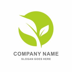 Organic Farm Green Plant Vector Logo Template