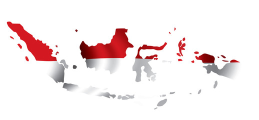 Vector Indonesia flag map