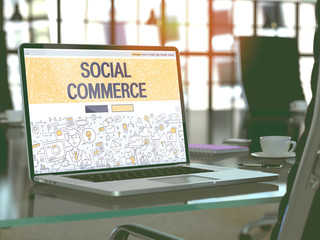 Social Commerce Concept. Closeup Landing Page on Laptop Screen in Doodle Design Style. On Background of Comfortable Working Place in Modern Office. Blurred, Toned Image. 3D Render.