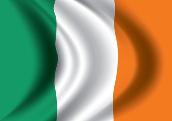 Vector Ireland flag blowing in the wind