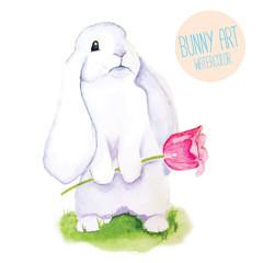 White Rabbit. Watercolor Easter art print.