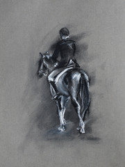 horseman black and white charcoal and pastel sketch