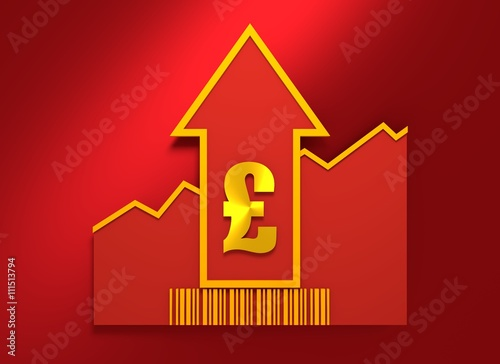 Pound Sign On Grow Up Arrow And Bar Code Stock Photo And Royalty