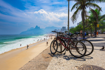 Bicycle parked in Ipanema beach in Rio de Janeiro. Brazil