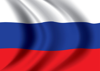 Vector Russia flag blowing in the wind