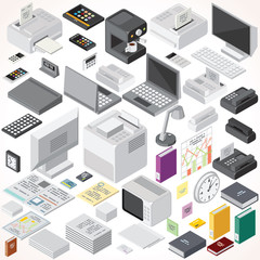 Isometric Office Equipments and Interior Items