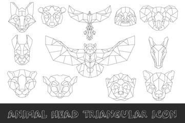 Front view of animal head triangular icon