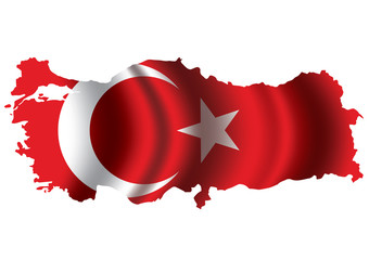 Vector of Turkey flag blowing in the wind.