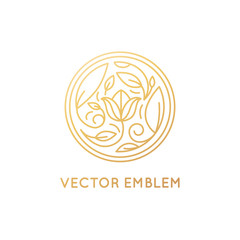 Vector simple and elegant logo design template in trendy linear