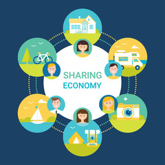 Sharing Economy Vector Illustration. People and Objects Icons