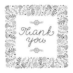 Thank you card template with hand written thank you message, Vector. Doodle.