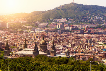 Aerial view of Barcelona and National Art Museum. Spain