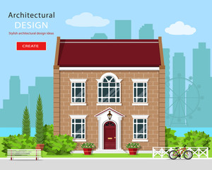 Modern graphic architectural design. Cute brick house. Colorful set: house, bench, yard, bicycle, flowers and trees. Flat style vector illustration.