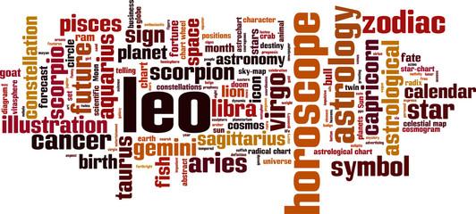 Leo word cloud concept. Vector illustration