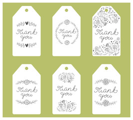 Set of six  black and white decorative labels. Tags with hand written  thank you note. Vector.