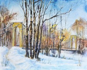 Suspension bridge and winter forest picture.Russian winter landscape.Watercolor hand drawn illustration.