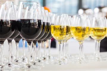 Set of full wine glasses