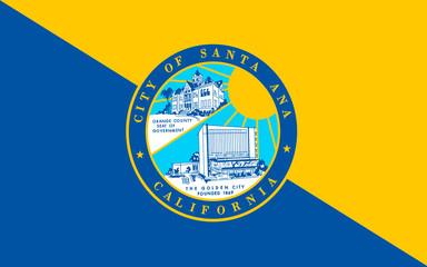Flag of Santa Ana is county seat of Orange County, California, U