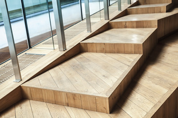 Foto op Plexiglas Trappen Abstract empty interior, wooden stairs, glass