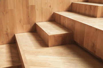 Abstract empty interior, natural wooden stairs