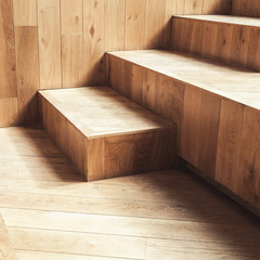 Canvas Prints Stairs Abstract empty interior, wooden stairs