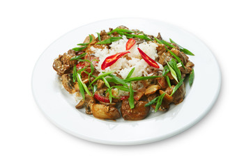 Chicken liver with mushrooms and rice.