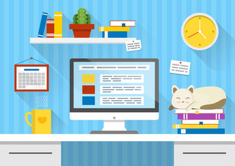 Flat design vector illustration of modern office interior. Creative cartoon workspace with computer, sleeping cat, notes, books. calendar, clock. Minimalistic style and color, long shadows.