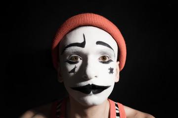 Portrait of sad mime