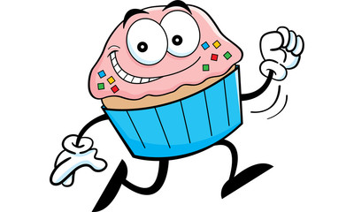 Cartoon illustration of a running cupcake.