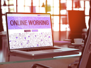 Online Working Concept Closeup on Landing Page of Laptop Screen in Modern Office Workplace. Toned Image with Selective Focus. 3D Render.