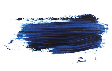 photo blue grunge brush strokes oil paint isolated on white background