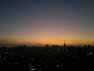 Sky over the city at sunset